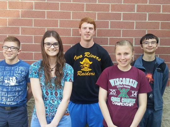 Badger Boys and Girls State delegates have been named at Two Rivers High School. Pictured is, back row, from left: Brody Kust, Dawson Kiphart, Matthew Omillian; front row: Claire Evanoff, Savannah Stanley.
