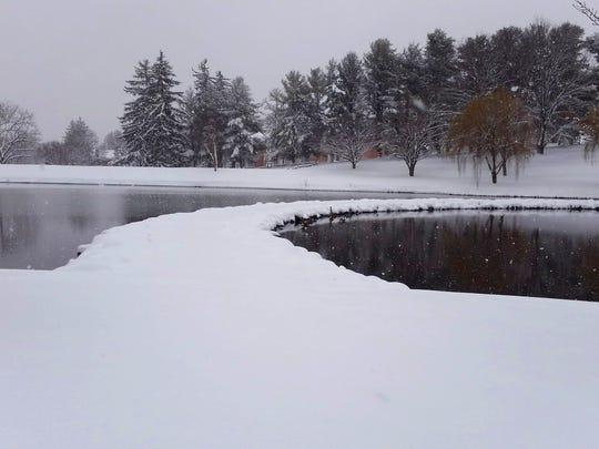 Snow over Lake Tams.