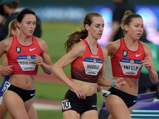 Shelby Houlihan (left), Molly Huddle (middle) and Emily
