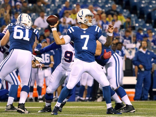 Indianapolis Colts quarterback Stephen Morris (7) passes against the Buffalo Bills during the second half of a preseason NFL football game Saturday.