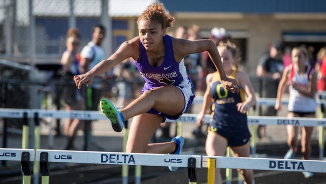 Central's Aaliyah Barnes warms up in the 100 hurdles at the Delta Sectional earlier this season. Barnes is competing at state on Saturday.