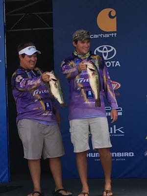 The Bethel University Bass Cats team of Evan Owrey, left, and K.J. Queen moved from tenth to seventh place after Day 2 at the Bassmaster College Series National Championship on Green River Lake on Friday, July 29, 2016.