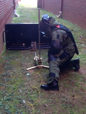 The Tennessee Highway Patrol's Special Operations Bomb Team destroyed the explosive device found at Spring Hill High School Friday afternoon.