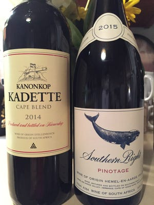 Kanonkop Kadette Cape Blend 2014, right, has 44 percent Pinotage. Southern Right Pinotage 2015 is aged in French oak.