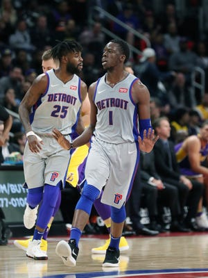 Detroit Pistons guard Reggie Jackson makes a 3-pointer against the Los Angeles Lakers on Monday night.
