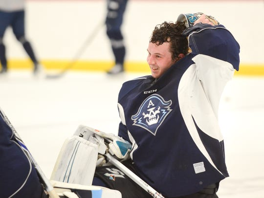 Troy Grosenick at a Milwaukee Admirals hockey practice Feb. 28.