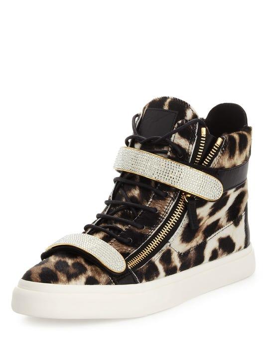 fb74ac3be6696 Men s Leopard-Print Calf Hair High-Top Sneaker by Giuseppe Zanotti