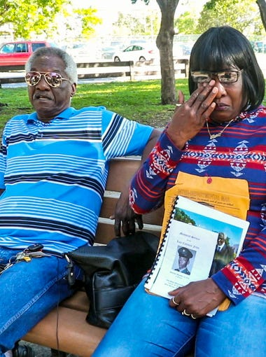 Larry and Toni McFarley outside of the Golden Glades Nursing and Rehabilitation Center in Miami. Their brother, Coleman Felts, wandered away from the nursing home in December 2015 and drowned in a lake.