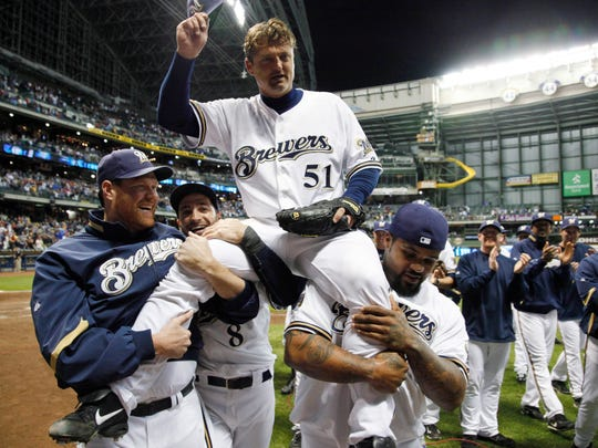 Milwaukee Brewers relief pitcher Trevor Hoffman is carried off the field after the Brewers defeated the St. Louis Cardinals  4-2 on Sept. 7, 2010, in Milwaukee. Hoffman picked up his career 600th save.