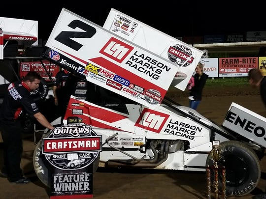 Shane Stewart drove to victory at the World of Outlaws event in 2016 at Granite City Speedway in Sauk Rapids.