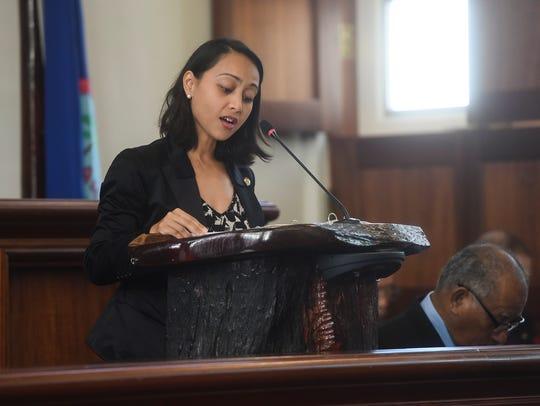 Sen. Regine Biscoe Lee speaks during the state memorial