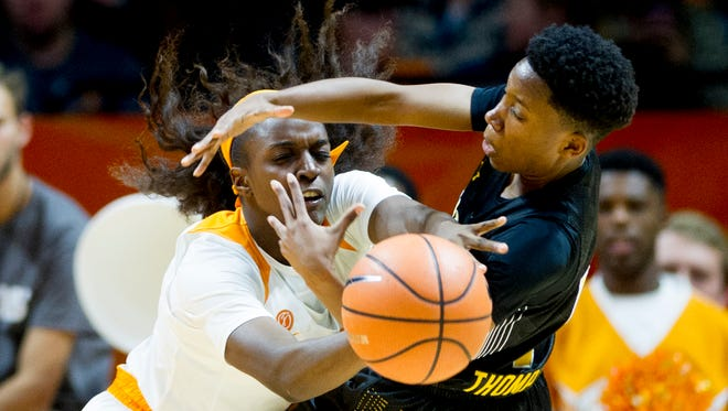 Tennessee's Meme Jackson, shown blocking a shot against Wichita State earlier this season, and the Lady Vols are bracing fora game at Texas A&M on Thursday, the first of a difficult four-game stretch for the Lady Vols.