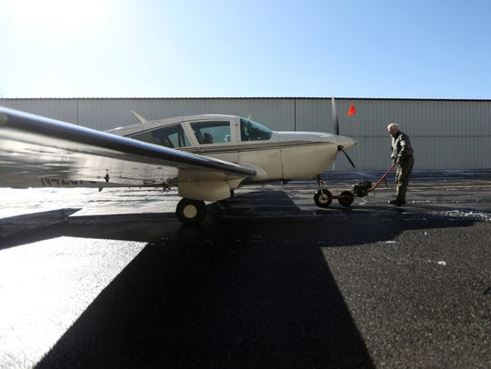 Simmons pays $710 a month to park his Bellanca Super