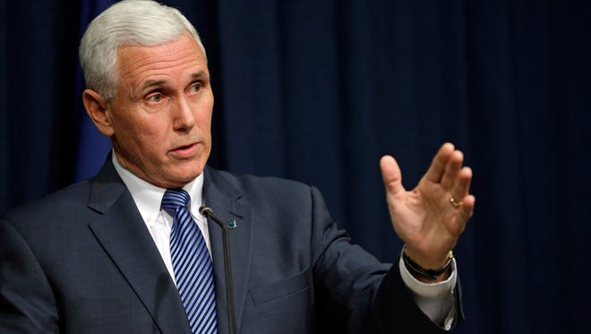 """Indiana Gov. Mike Pence is  adamant that the measure, slated to take effect in July, will stick. """"We're not going to change this law,"""" he said."""