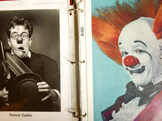 The many faces of Pat Cashin, renown circus clown from Tinton Falls.