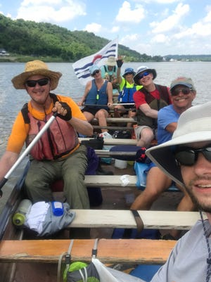 A group of paddlers from Cincinnati and Louisville made the 133 mile trek between the cities in 33 hours on a Voyageur Canoe June 2 and 3, 2018.