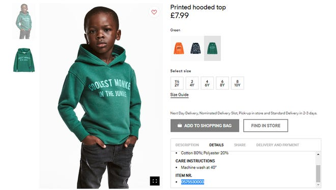 """An undated photo of an advert for a hoodie by H&M. Clothing giant H&M has apologized Monday, Jan. 8, 2017, and removed an advertising image of a black model in a sweatshirt with the words """"Coolest monkey in the jungle.'' The brand removed the image, but kept in place other designs modeled by white children. (H&M via AP) ORG XMIT: LON812"""