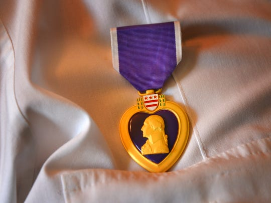 Tom Pechacek received his World War II Purple Heart in April 2018.