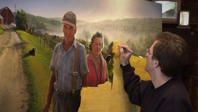"Shorewood artist David Lenz works on a portrait of Erv and Mercedes Wagner in 2001. ""Thistles"" is one of the key works in a major retrospective exhibit of Lenz's painting at the Museum of Wisconsin Art in West Bend."