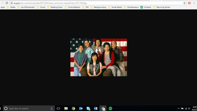 """A screenshot of the image hosted by the Arizona GOP's website showing a promotional image of Margaret Cho's """"All American Girl."""""""