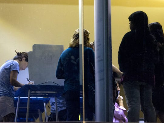 Early voters were waiting two to four hours to cast their ballots at the Tempe Public Library on Nov. 4, 2016.