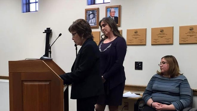 Espie Holguin, left, with the U.S. Department of Housing and Urban Development, and Sandra Alarcon, center, with U.S. Department of Agriculture Rural Development answered questions during the Monday, March 14 Mesilla board of trustees meeting about a possible colonias designation for a portion of the town. More discussions are planned.