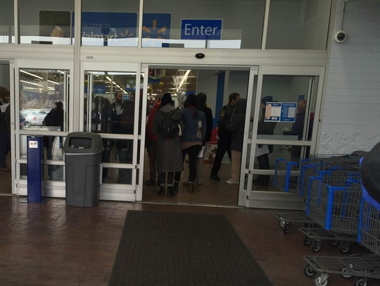 Protesters entered the Walmart store on Friday morning,