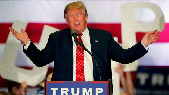 Donald Trump speaks at a campaign rally in New Orleans