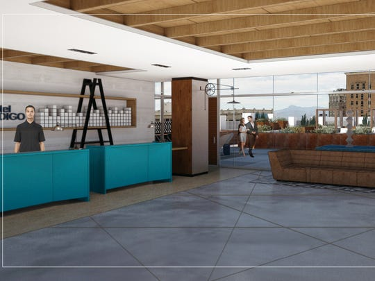 An artist's rendering shows the fifth-floor lobby of the Hotel Indigo in Downtown El Paso, scheduled to open in December.