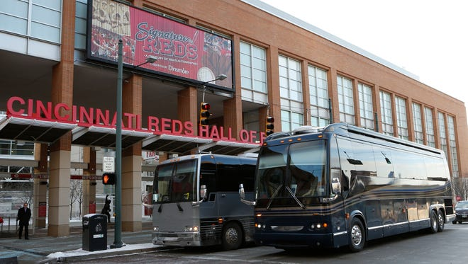 The 2014 Reds Caravan prepares to leave from outside the Reds Hall of Fame and Museum.