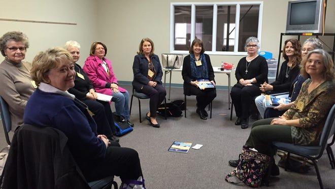Shown are members of a Bible study group led by Nancy Brownlow. From left are Sybil Chitwood, Gail Casey, Laura Mize, Betty Springer, Jennifer Denard, Brownlow, Barbara Wilson, Katherine Skidgel, Teresa Mapp and Alicia Morris.