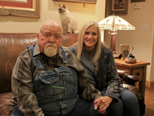 Wilford and Beverly Brimley sit in their Santa Clara home following an ...