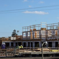 Framing on the State Street Station development is seen Thursday, Oct. 13, 2016, in Wauwatosa, Wisconsin.