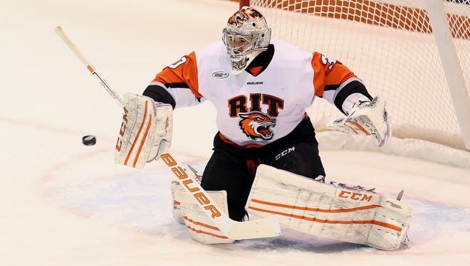 RIT goalie Mike Rotolo, shown here in a game earlier this season, stopped 52 of 54 shots last weekend as the Tigers swept Mercyhurst in the Atlantic Hockey quarterfinals.