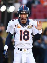 SANTA CLARA, CA - FEBRUARY 07:  Peyton Manning #18