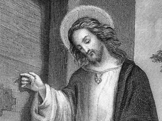 Jesus Christ German steel engraving detail