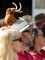 Docent Bob Bell wears a stuffed Columbian Mammoth on his hat at The Living Desert during a public announcement for the Living Legacy endowment campaign.