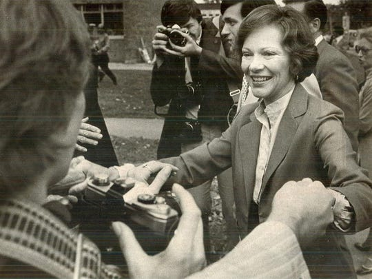 First lady Rosalynn Carter shakes hands with well-wishers