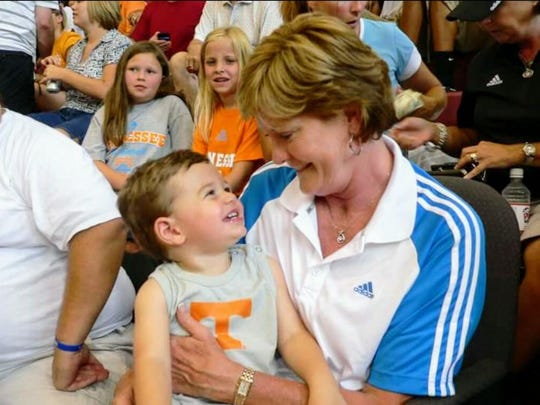 Dane Kelly, the 8-year-old son of Vols fans Jackie and Mike Kelly, met legendary Lady Vols women's basketball coach Pat Summitt when he was 18 months old.