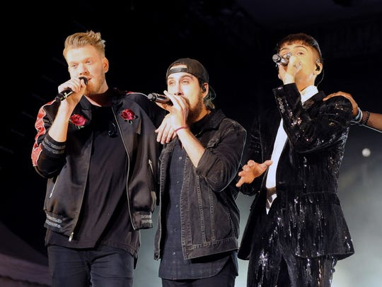 Scott Hoying, Avi Kaplan and Mitch Grassi of Pentatonix perform at the Wisconsin State Fair on Aug. 8.