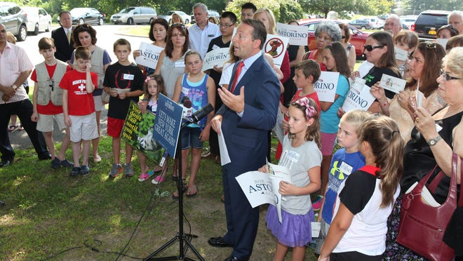 GOP gubernatorial candidate Rob Astorino announces his education platform outside Hawthorne Elementary School in Hawthorne Aug. 2, 2014.