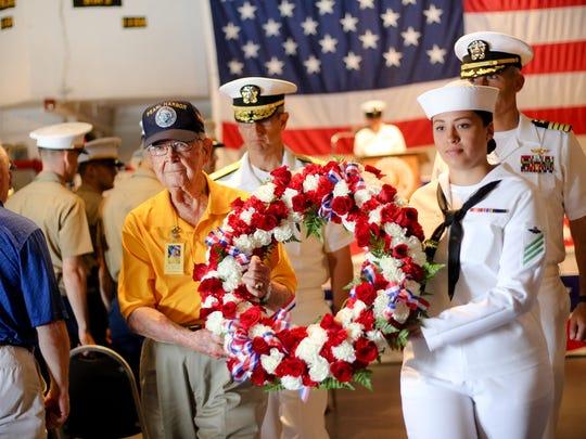 Pearl Harbor Veteran Bob Batterson and Airman Maria