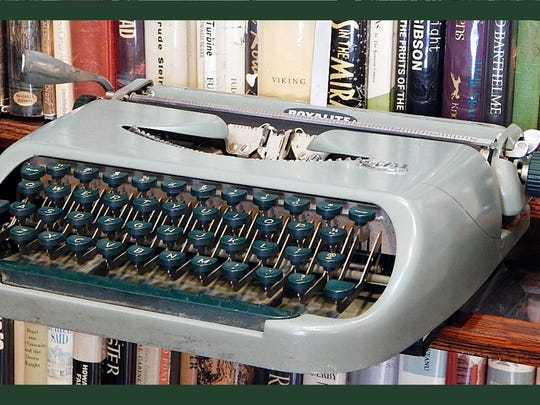 Barner's unique displays, such as this old-fashioned typewriter, will delight lit lovers.
