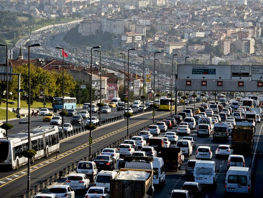 Traffic jams form on a highway in 2014 in Istanbul.