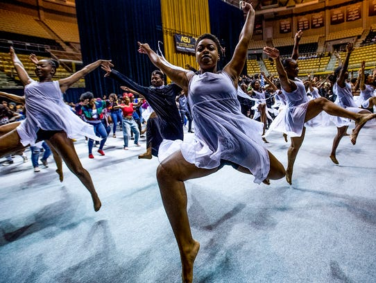 Alabama State University dance students perform during