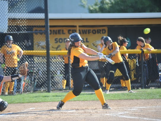 Lydia Strouse had a pair of of doubles, a single, scored a run and drove in an RBI.