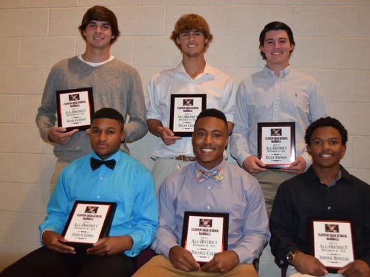 Named to the baseball All-District team are (front,