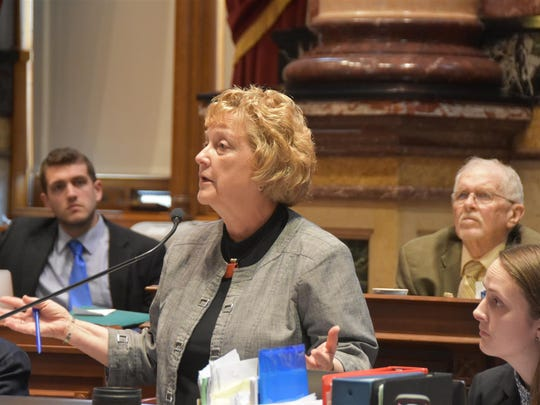 Iowa state Sen. Amanda Ragan, D-Mason City, speaks Friday, April 22, 2016, during debate on a health and human services appropriations bill.
