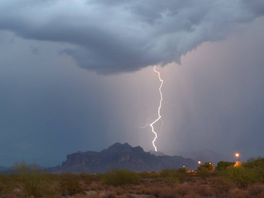 Lightning strikes in the Superstition Mountains outside Phoenix.