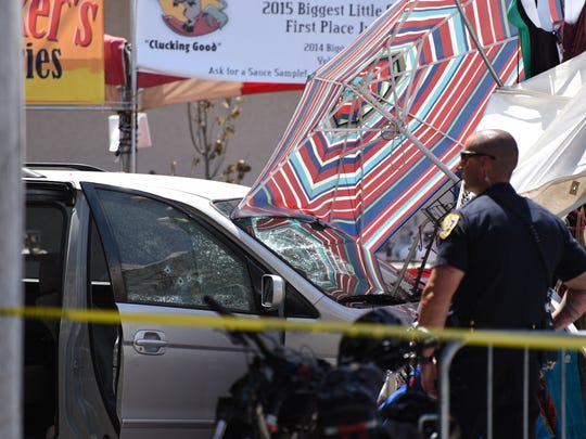 A van crashed into a Wingfest booth on Plaza and Virginia